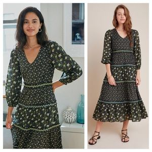 NWT ANTHROPOLOGIE Karoline Tiered Maxi Dress Green